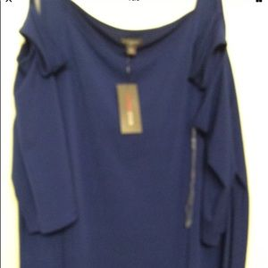 5X Blue Cold Shoulder Knit Top by Bold Elements